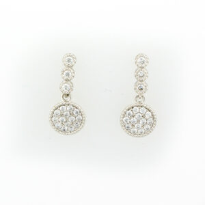 drop earrings are sterling silver with pave set sapphires.