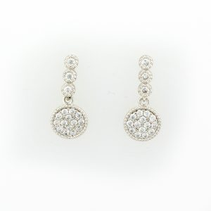Silver Sapphire Pave Drop Earrings