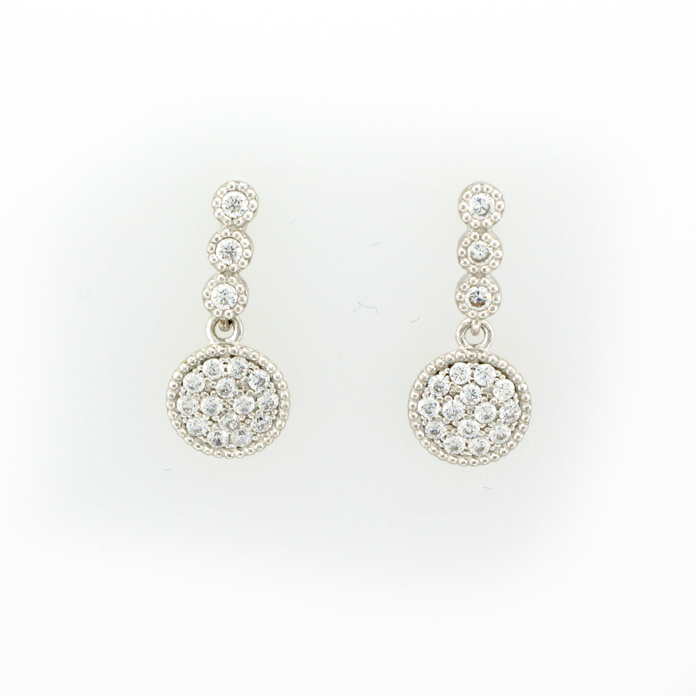 Silver White Sapphire Pave Drop Earrings
