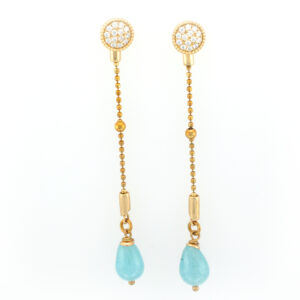 Gold vermeil, aquamarin, white sapphire pave, drop earring jacket.