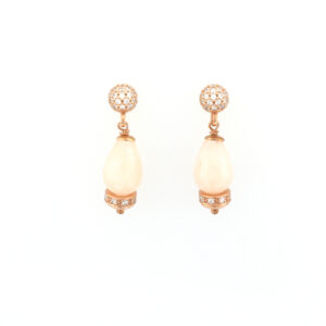 Rose gold vermeil, rose quartz and white sapphire drop earrings.