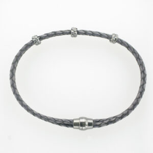 This two strand braided bracelet has black rhodium stations and a magnetic clasp.