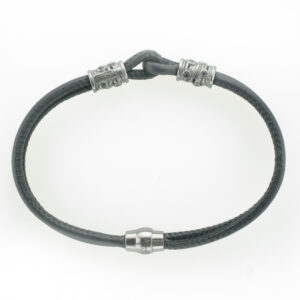 This 2 strand black bracelet has black rhodium and a magnetic clasp.