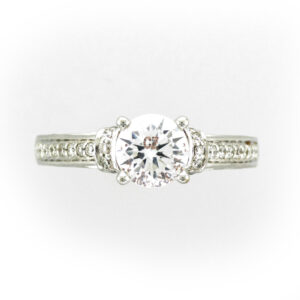 14 karat white gold ring has pave settings with a total weight of 0.38 carats.
