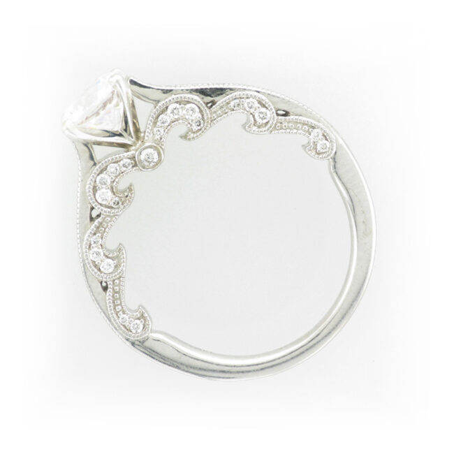 White Gold Scalloped Side Ring