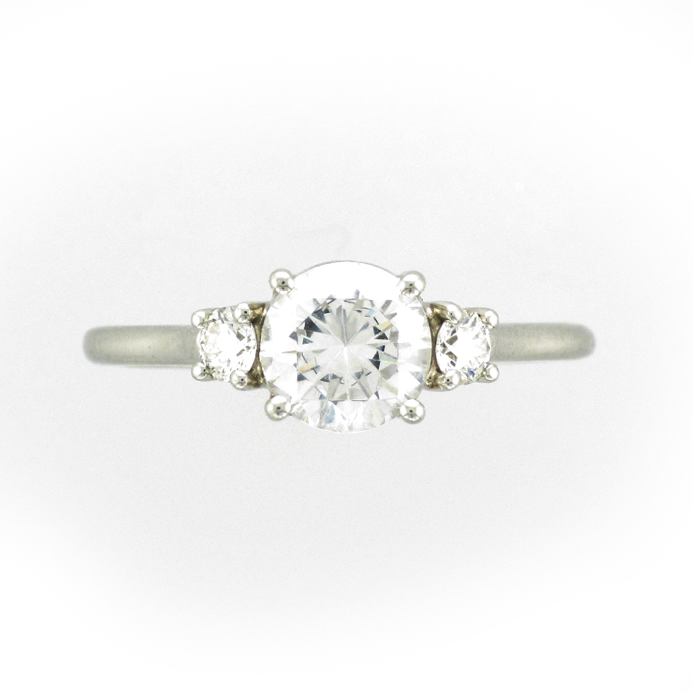 Three Stone Platinum Engagement Ring Setting
