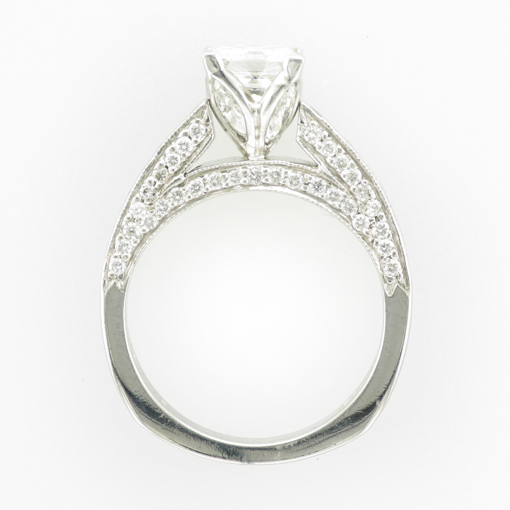 Princess Cut Ring with Pave Sides