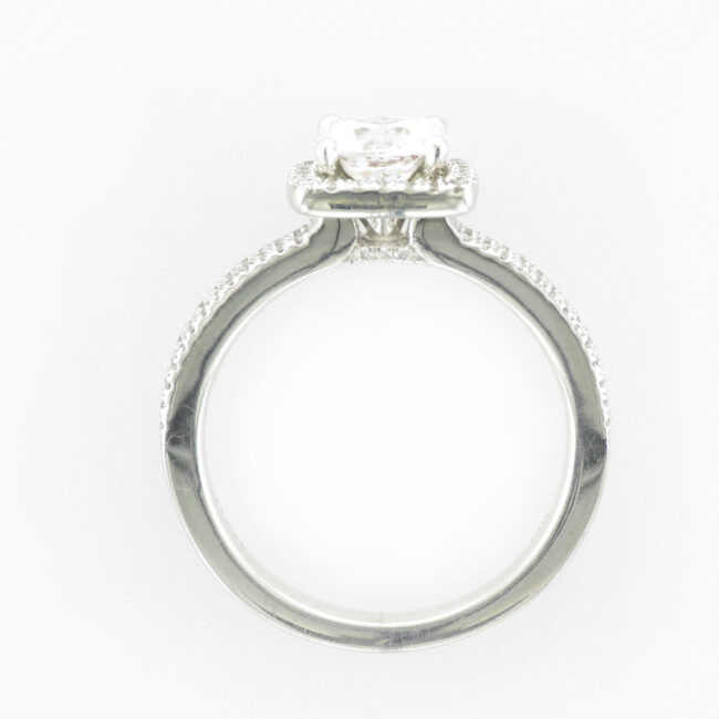 Ring with Double Shank Halo Setting