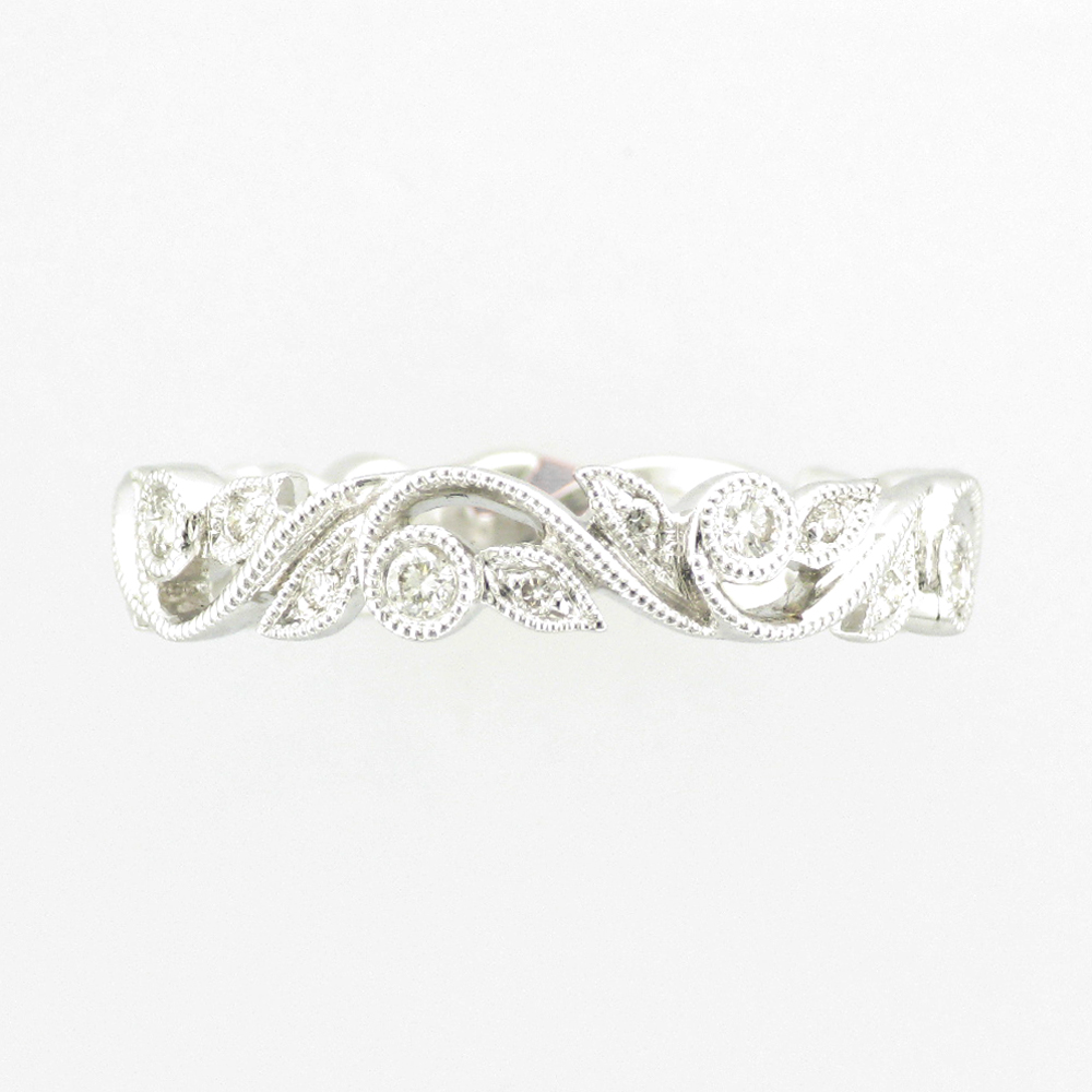 White Gold Floral Design Ring