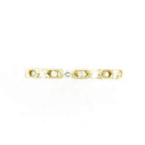 14 karat yellow gold stacking band diamonds that have a total weight of 0.23 carats.