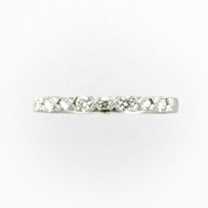 14 karat white gold stacking band diamonds that have a total weight of 0.28 carats.