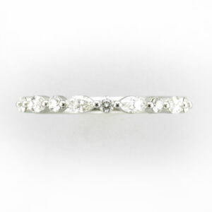 14 karat white gold ring has alternating Marquise and round cut diamonds with a total weight of 0.50 carats.