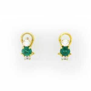 This pair of 18 karat yellow gold earrings have two 0.96 carat emeralds and four diamonds with a total weight of 0.64 carats.