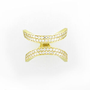 This 18 karat yellow gold ring has 78 pave set diamonds with the total weight of 0.92 carats and a rating of FG/VS.