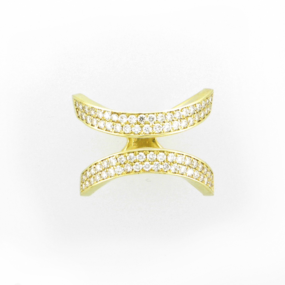 Yellow Gold Pave Split Ring
