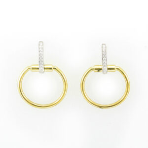 These 18 karat yellow gold parisienne circle drop earrings have a total of 0.20 total carats of diamonds.