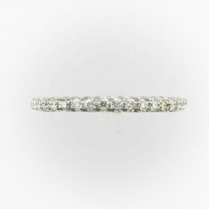 This platinum band has pave set diamonds with a total weight of 1.30 carats and are rated F/VS.