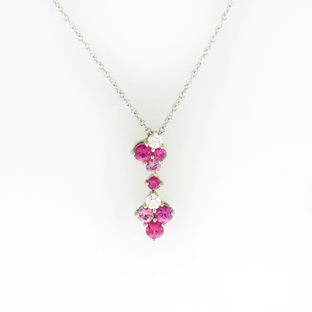 Diamond Ruby and Pink Sapphire Pendant