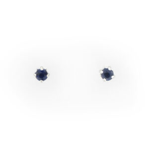 These 14 karat white gold earrings have 3.5 millimeter blue sapphires.