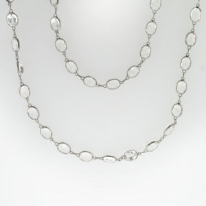 This 25 inch black rhodium necklace is strung with White Topaz for a total weight of 54.33 carats.