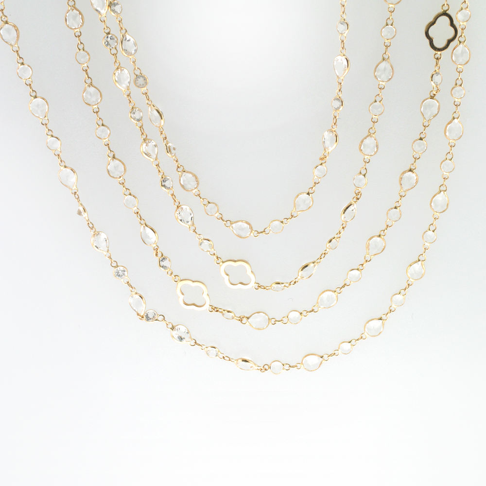 Rose Gold White Topaz Necklace