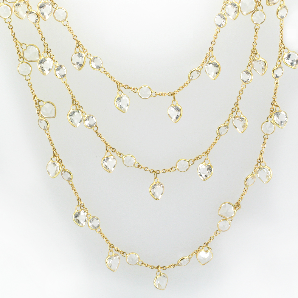 Round and Heart shaped White Topaz Necklace