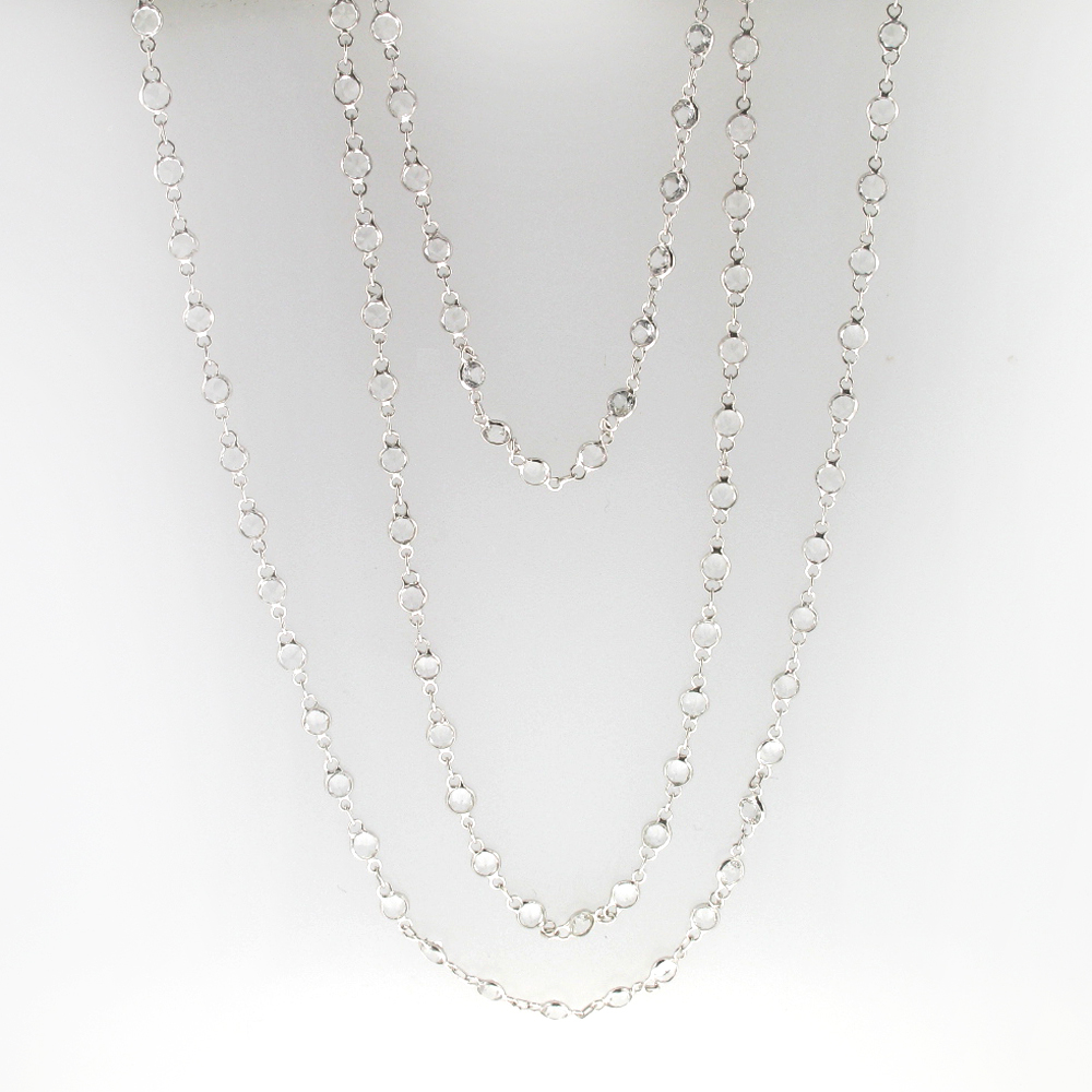 34 Inch White Topaz Necklace