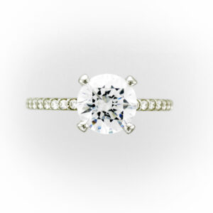 This platinum engagement has a mounting for a 2 carat round stone and has 48 stones down the sides for a total weight of 0.32 carats.