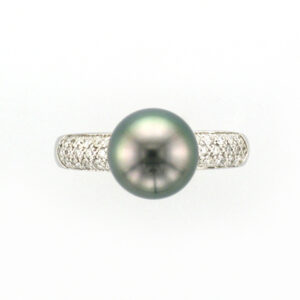 9-10MM TAHITIAN & DIA RING .25TW PAVE 14KW