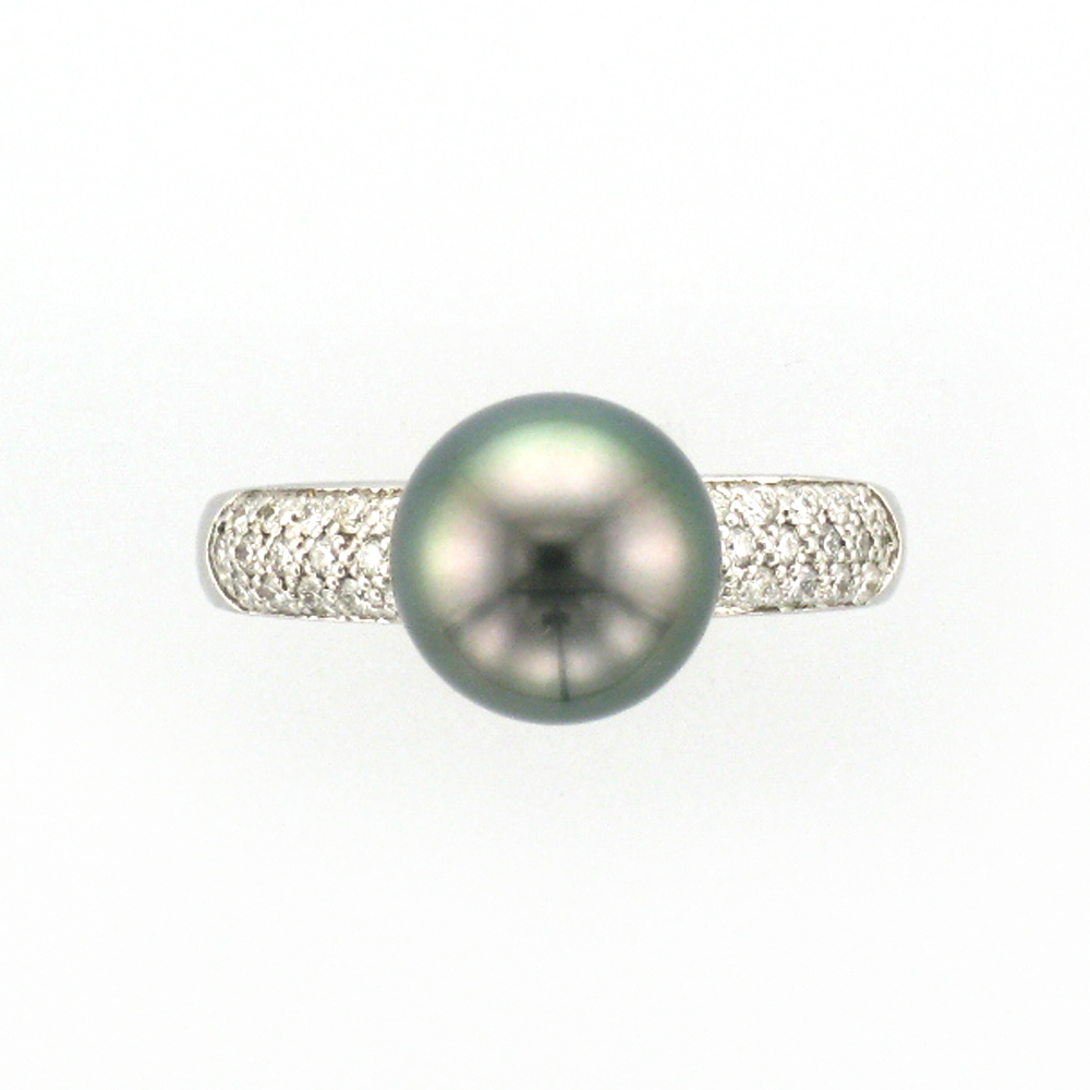 Tahitian Pearl and Pave Ring