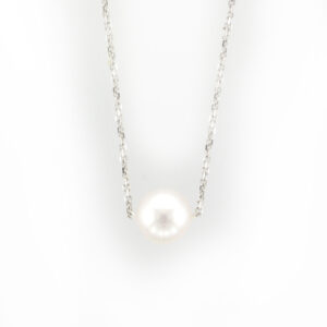 This 16 inch necklace is made of 14 karat white gold and has a 9 to 10 millimeter pearl.