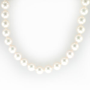 This 18 inch pearl stand has 7.5-8 millimeter pearls, they have a fine luster and a 18 karat white clasp.