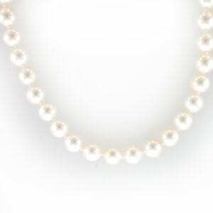 This 16 inch pearl strand has 7-6.5 fine cultured pearls and a 18 karat white gold clasp.