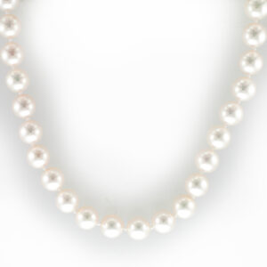 This 18 inch necklace has 7.5-7 millimeter cultured pearls and a 18 karat white gold necklace.