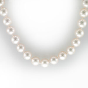 This 18 inch necklace has 9 by 8.5 millimeter fine cultured pearls and a 18 karat white gold clasp.