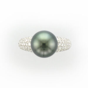 This 18 karat white gold ring has a 11 by 12 Tahitian pearl and pave with a total weight of 1.10 carats.