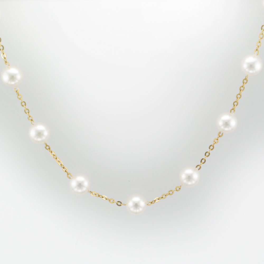 Yellow Gold Pearl Tin Cup Necklace