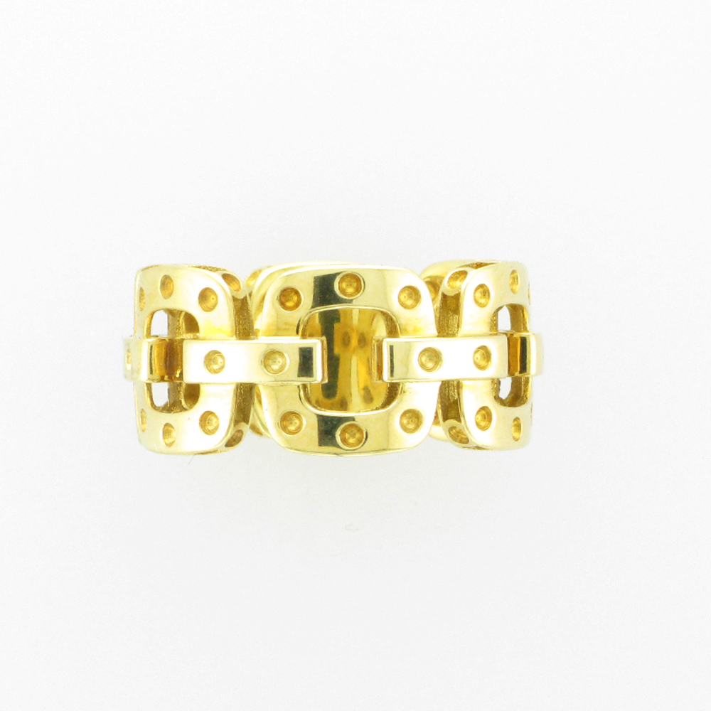 Gold Square Link Ring