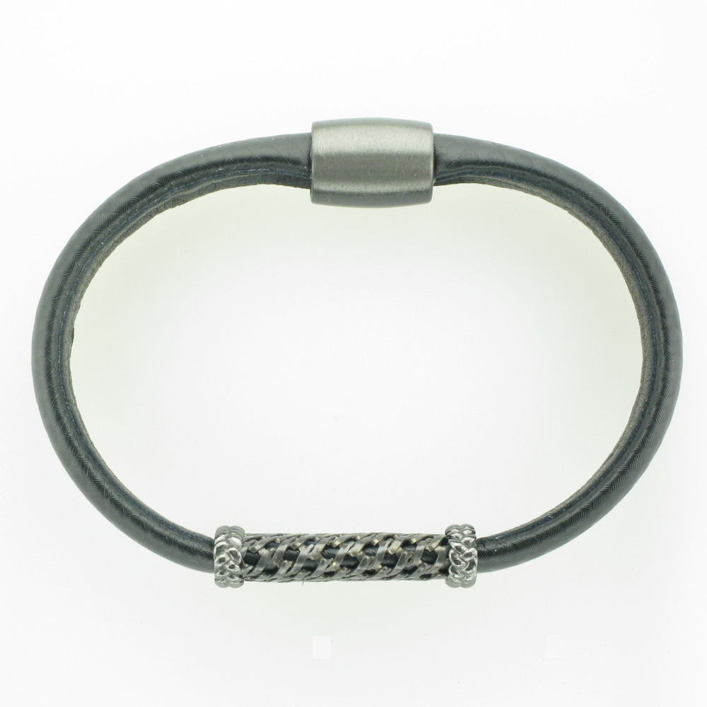 Black Carbon and Rhodium Men's Bracelet