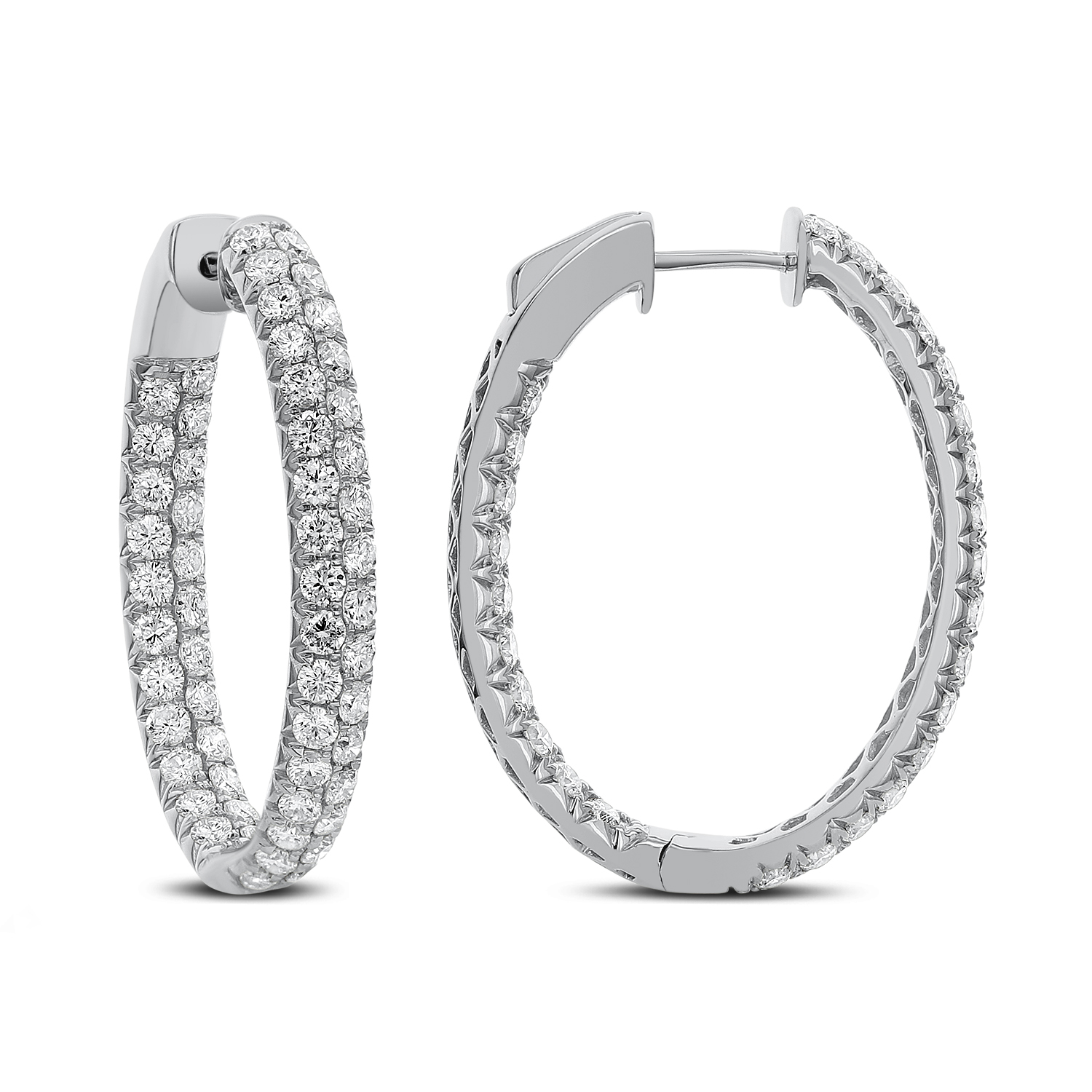 Woven White Gold Diamond Hoops