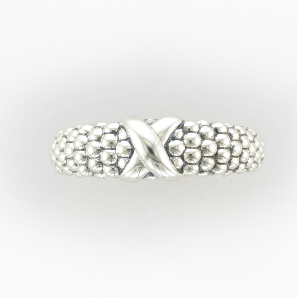 Sterling Silver X Caviar Ring