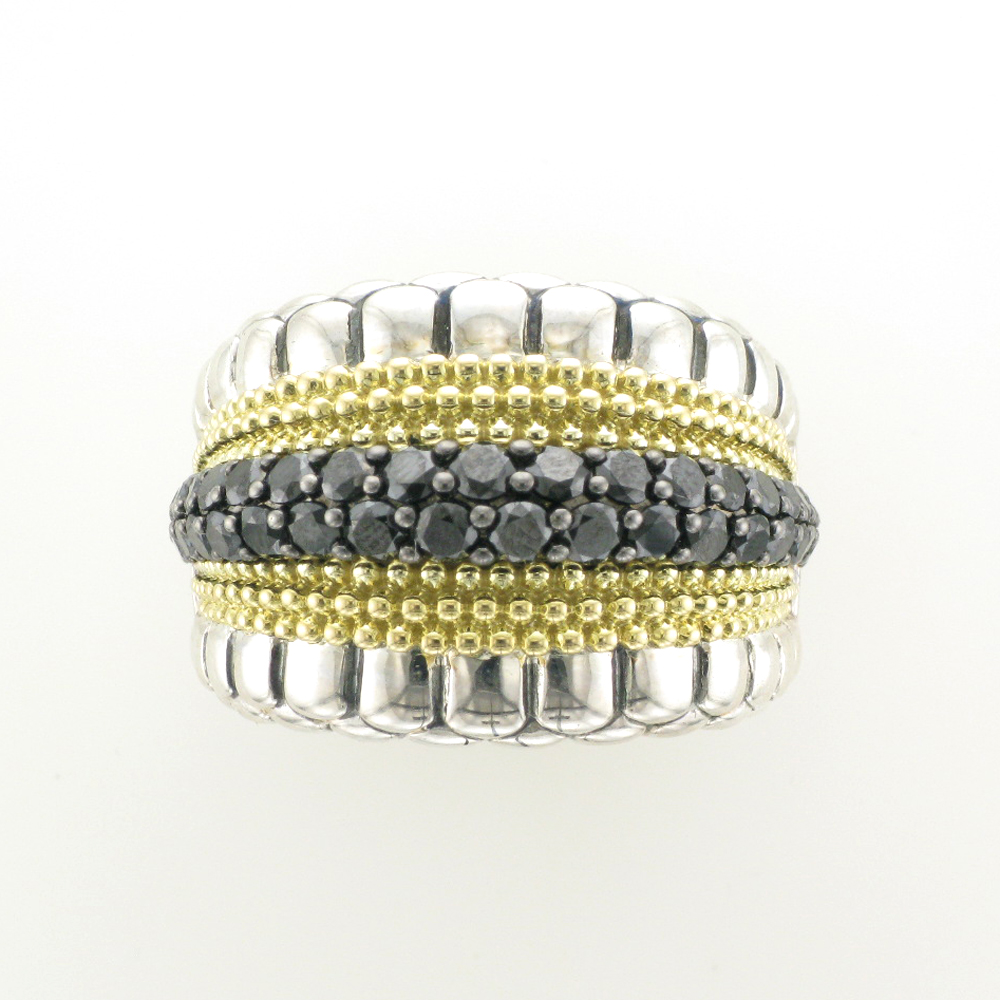 Black Diamond and Gold Ring