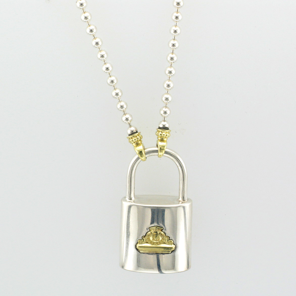 Silver and Gold Lock Pendant
