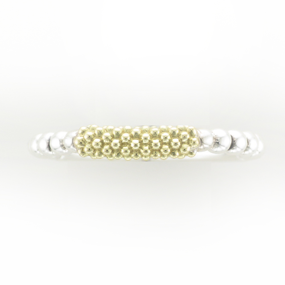 Gold and Silver Caviar Stacking Ring