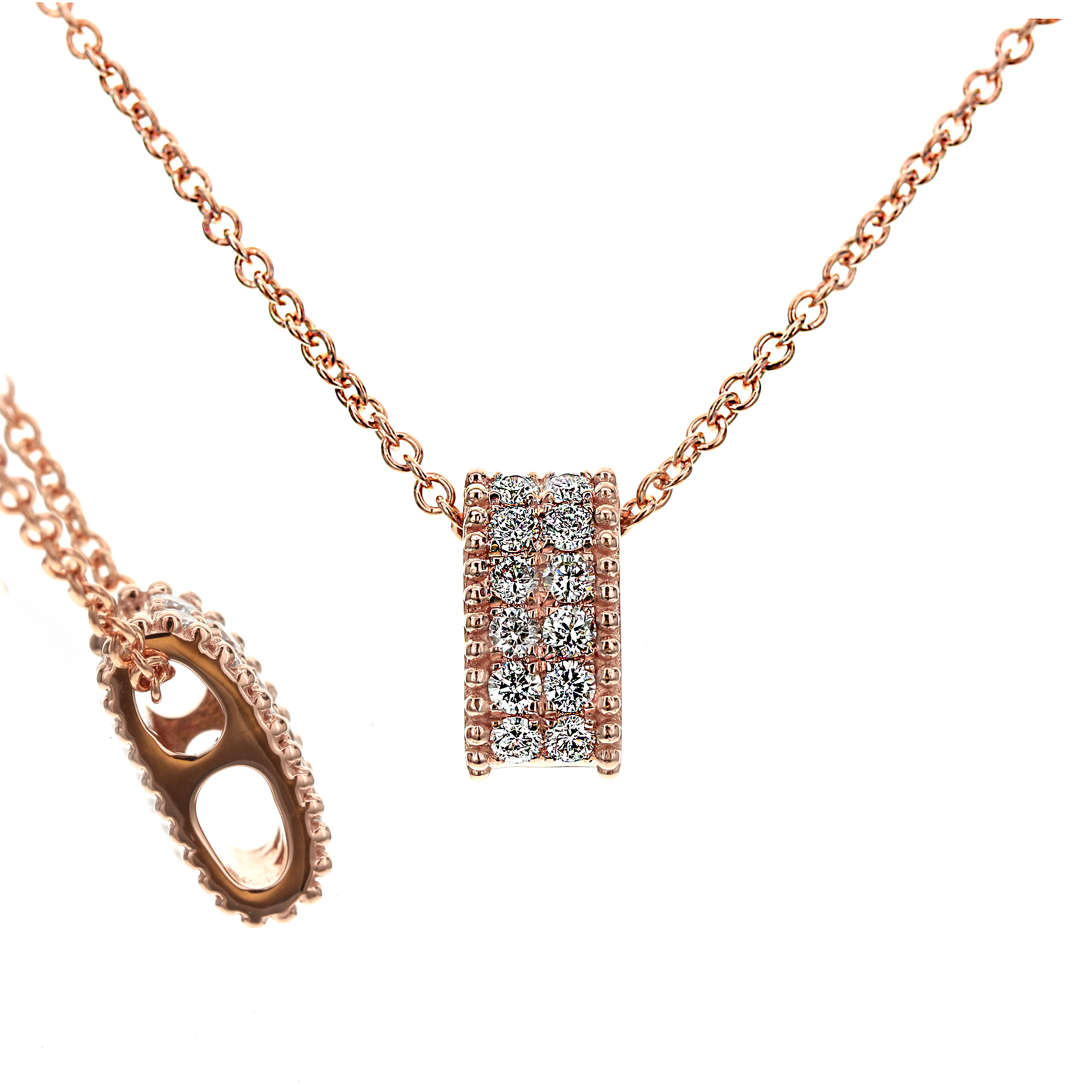 Rose Gold and Diamond Slide Pendant