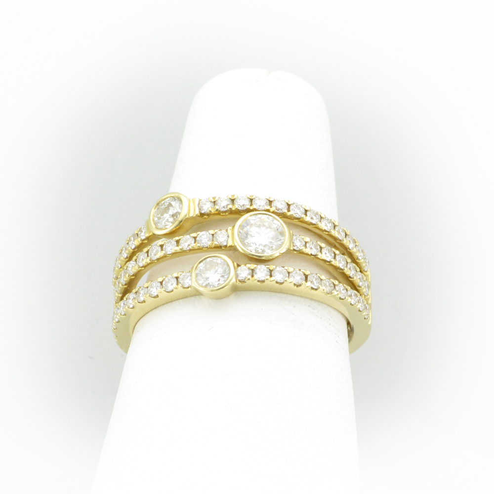Three Band Gold Diamond Ring