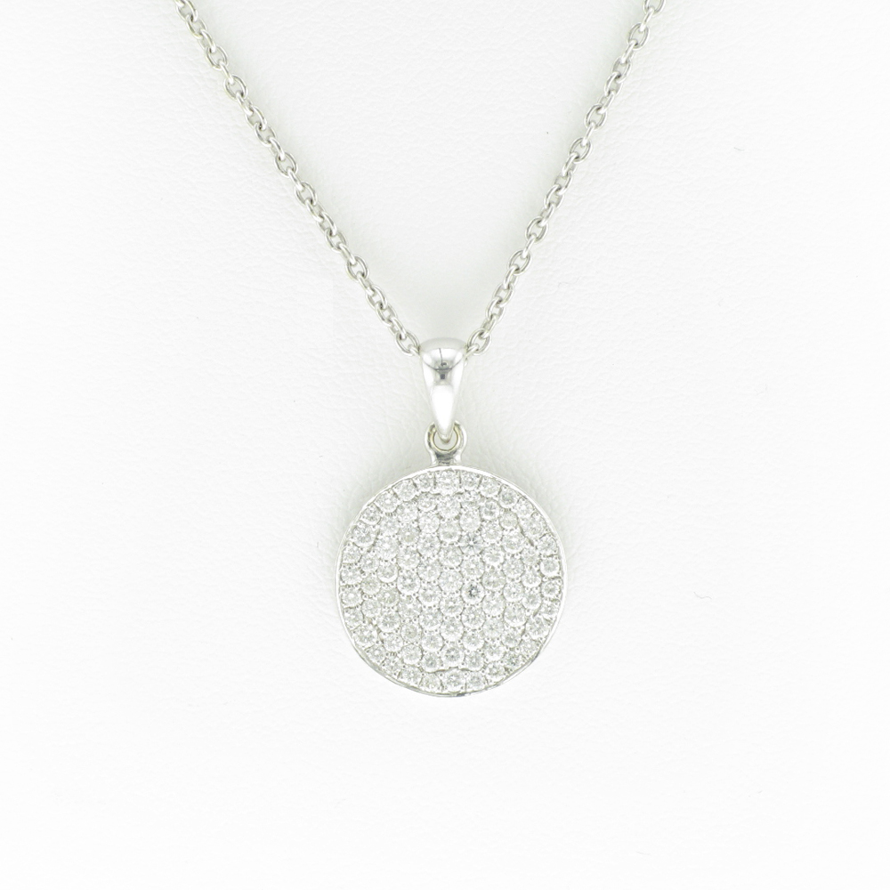 Cable Link Necklace and Pave Disk