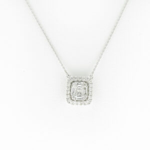 This 16 inch necklace has diamonds with a total weight of 0.20 carats and baguette cut diamonds with a total weight of 0.18 carats.
