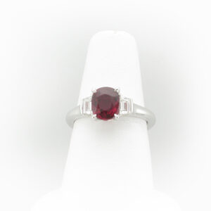 This platinum ring has a 2.02 carat fine Ruby and diamonds with a total carat weight of 0.38.