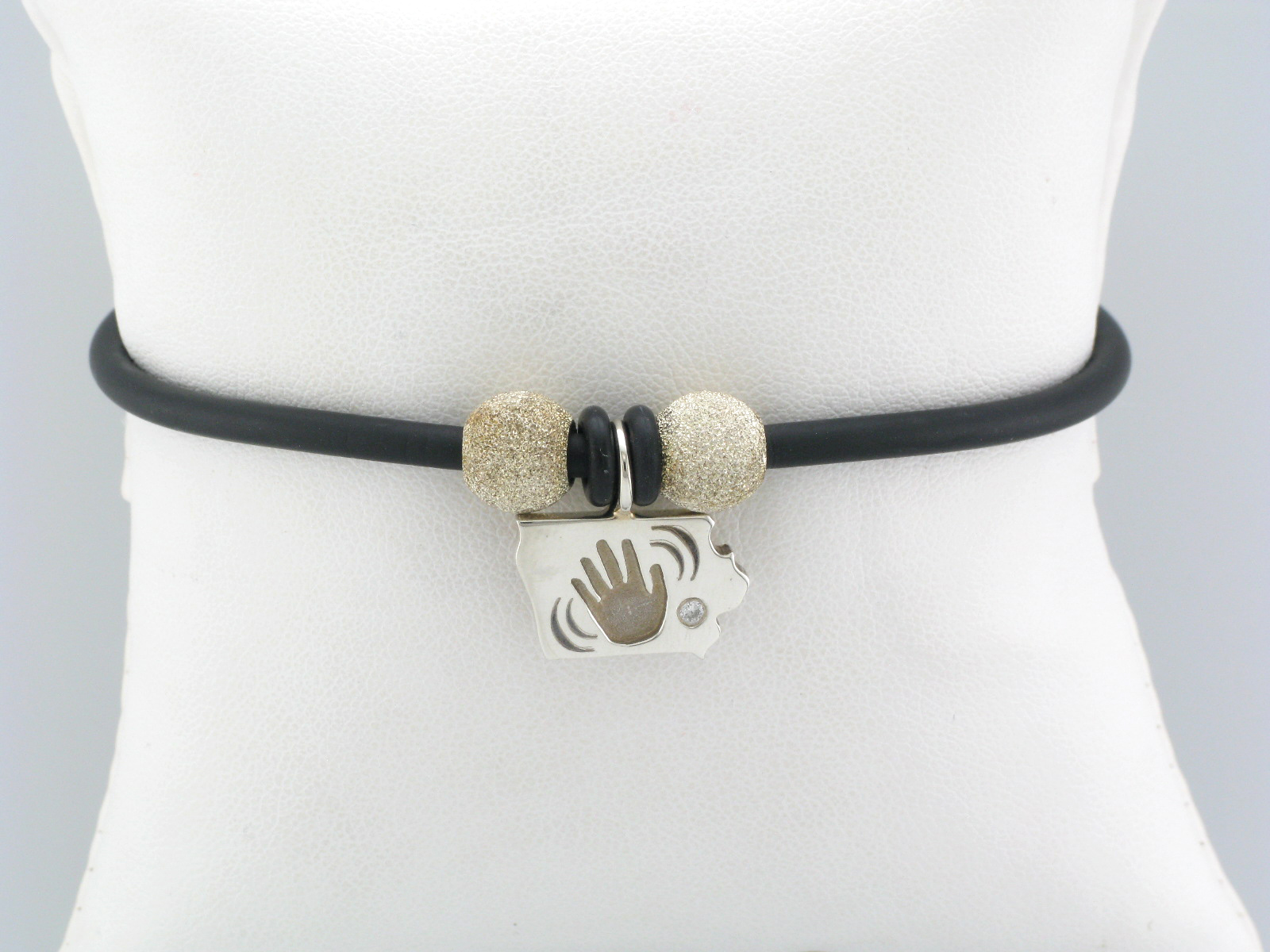 Iowa Wave Charm on Black Bracelet